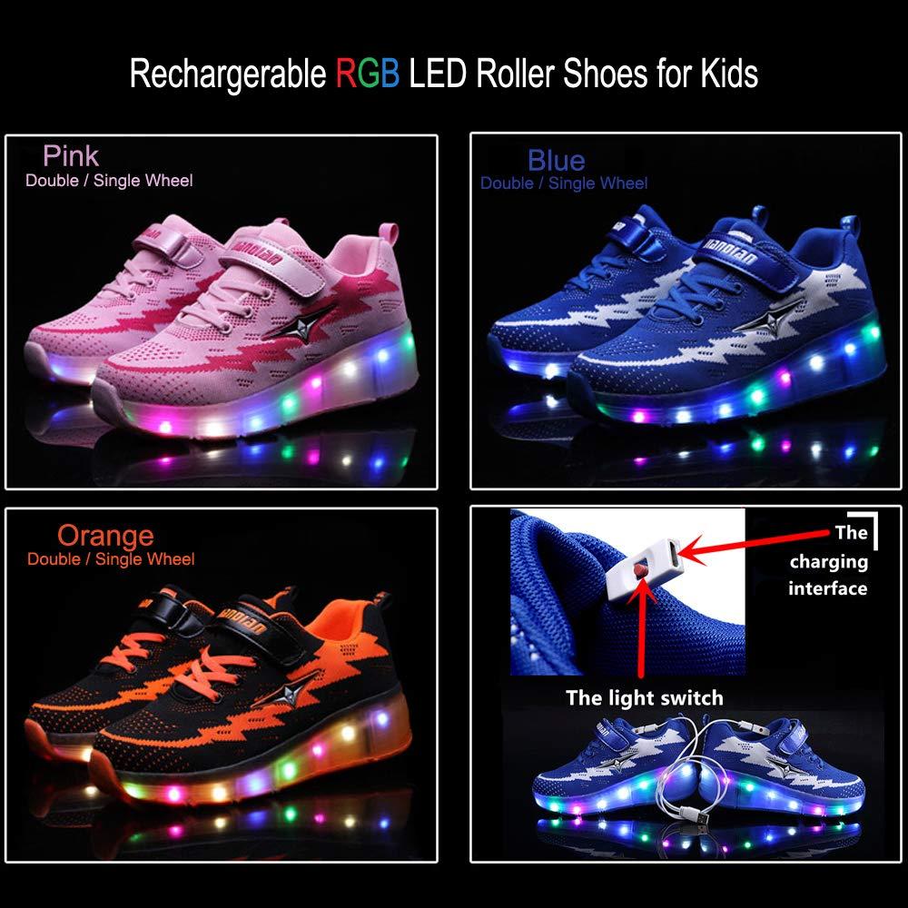 AIkuass USB Chargable LED Light Up Roller Shoes Wheeled Skate Sneaker Shoes for Boys Girls Kids