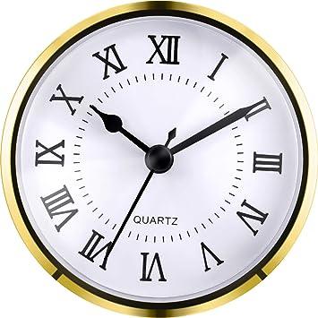 3-1/2 Pulgadas (90 mm) Fit-up/Inserto de Reloj de Cuarzo con Números Romanos, Movimiento de Cuarzo (Dorado): Amazon.es: Hogar