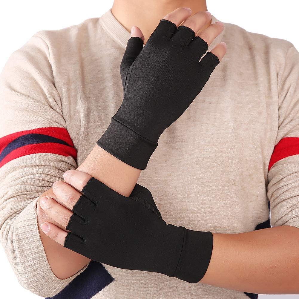 ARBOT Copper Compression Fingerless Arthritis Gloves for Men and Women Comfy Brace Rheumatoid Stress Osteoarthritis Gloves