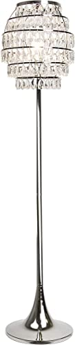 Grandview Gallery 63.25″ Polished Nickel Modern Bling Floor Lamp ft. 6-Tier Shade
