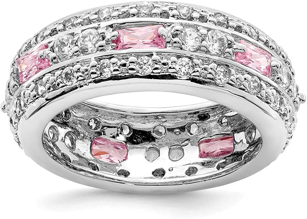 925 Sterling Silver Pink Clear Cubic Zirconia Cz Wedding Ring Band Fine Jewelry For Women Gifts For Her