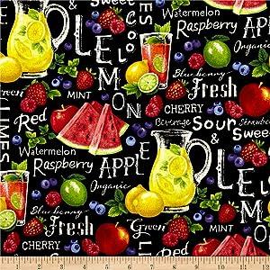 Fabri-Quilt 0459172 Farmer John Garden Assorted Fruits On Black Fabric by the Yard