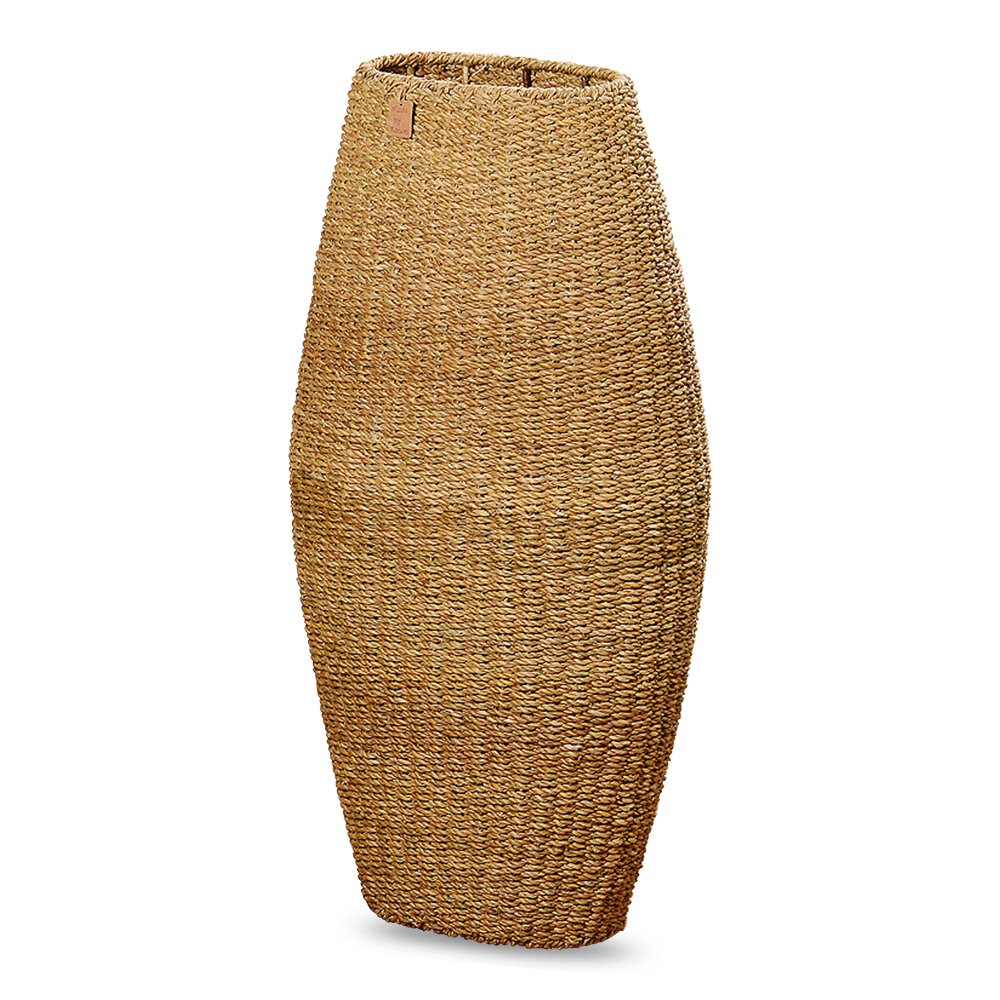 Made by Nature Beach House Vase, Hidden Shelf, Metal Framed, Woven Seagrass, Over 3 Ft Tall (39 1/4 H Inches Tall)