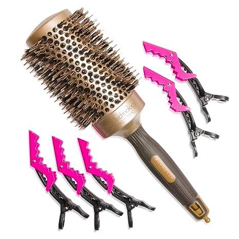 Cepillo profesional de pelo de jabalí redondo de 53 mm para uso con secador. Con
