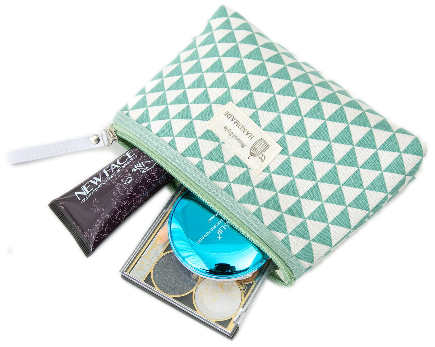 924a5a4a7a57 Amazon.com   Zhoma 3 Piece Cosmetic Bag Set - Makeup Bags And Travel Case -  Mint Green   Beauty
