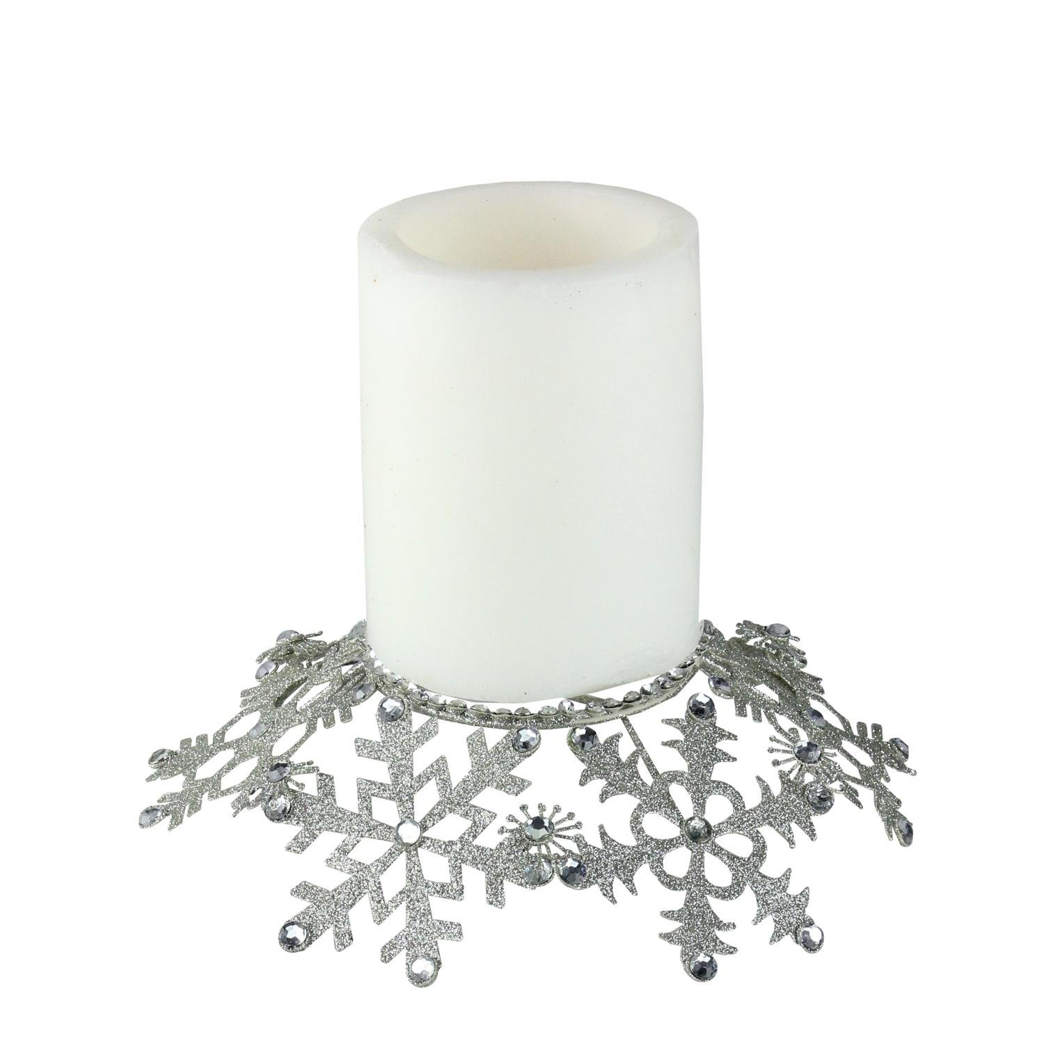Melrose 9'' Silver Snowflake Glittered and Jeweled Christmas Pillar Candle Holder