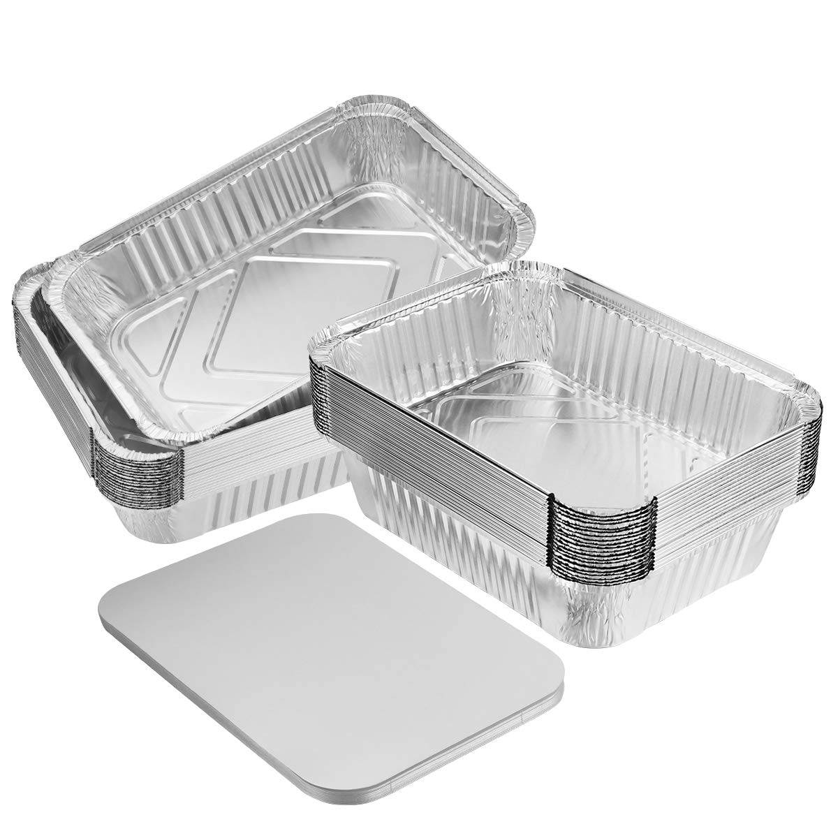 "BESTONZON 20PCS Heavy Duty Thicker Aluminum Foil Pans With Board Lids for Cooking, Roasting, Baking - 10"" X 7.5"" X 2.5"""
