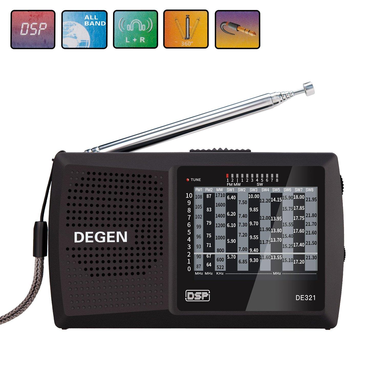 Portable Radio, Covvy FM/MW/SW Mini 11 Bands Shortwave DSP Stereo Radio Receiver Black