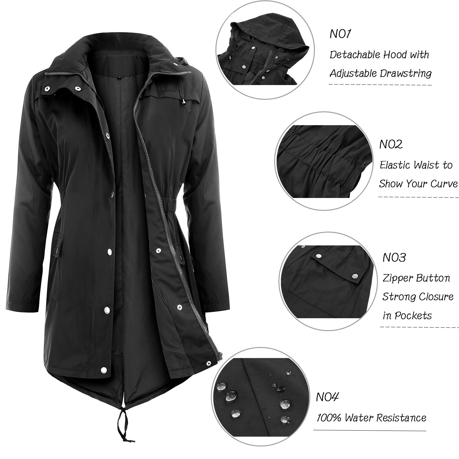 Uniboutique Raincoats Waterproof Lightweight Rain Jacket Active Outdoor Hooded Women's Trench Coats,Black,Medium