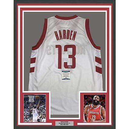 new style 9b309 1ce76 Framed Autographed/Signed James Harden 33x42 Houston White ...
