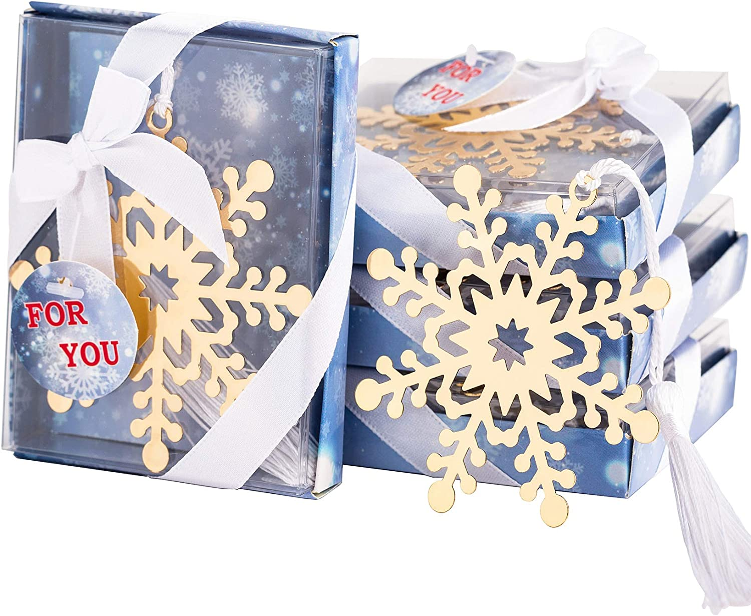 Amazon Com 12 Pcs Snowflake Bookmarks Wedding Party Favors Office Party Decorations Gifts Christmas Party Decor Souvenirs With Individual Gift Package Office Products