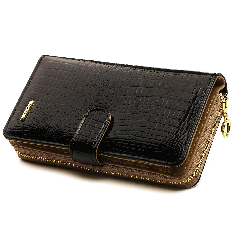 Women Wallet Ladies Luxury Leather Clutch Travel Purse Card Holder (black)