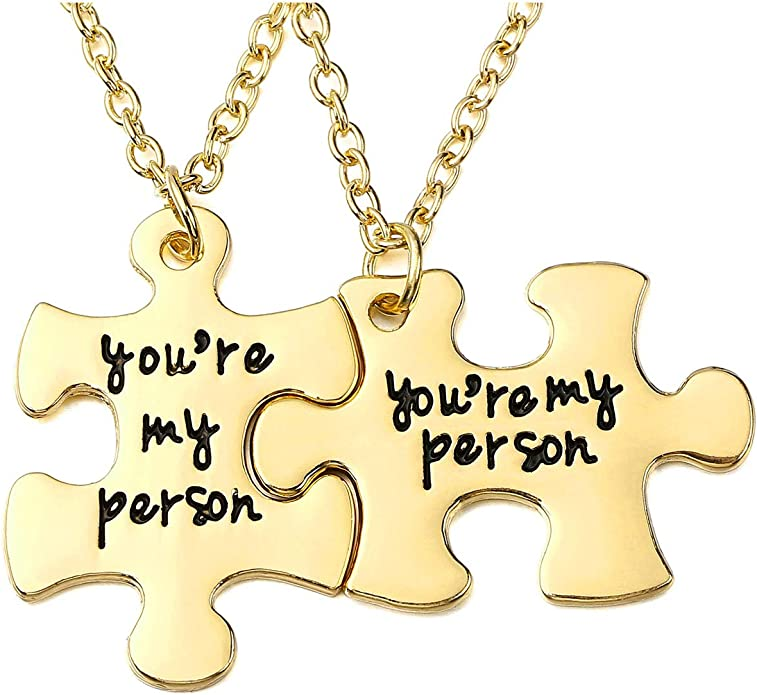 Valentines Day Jovivi 2pc You are My Person Pinky Promise Charm Pendant Keychain Jewelry Set