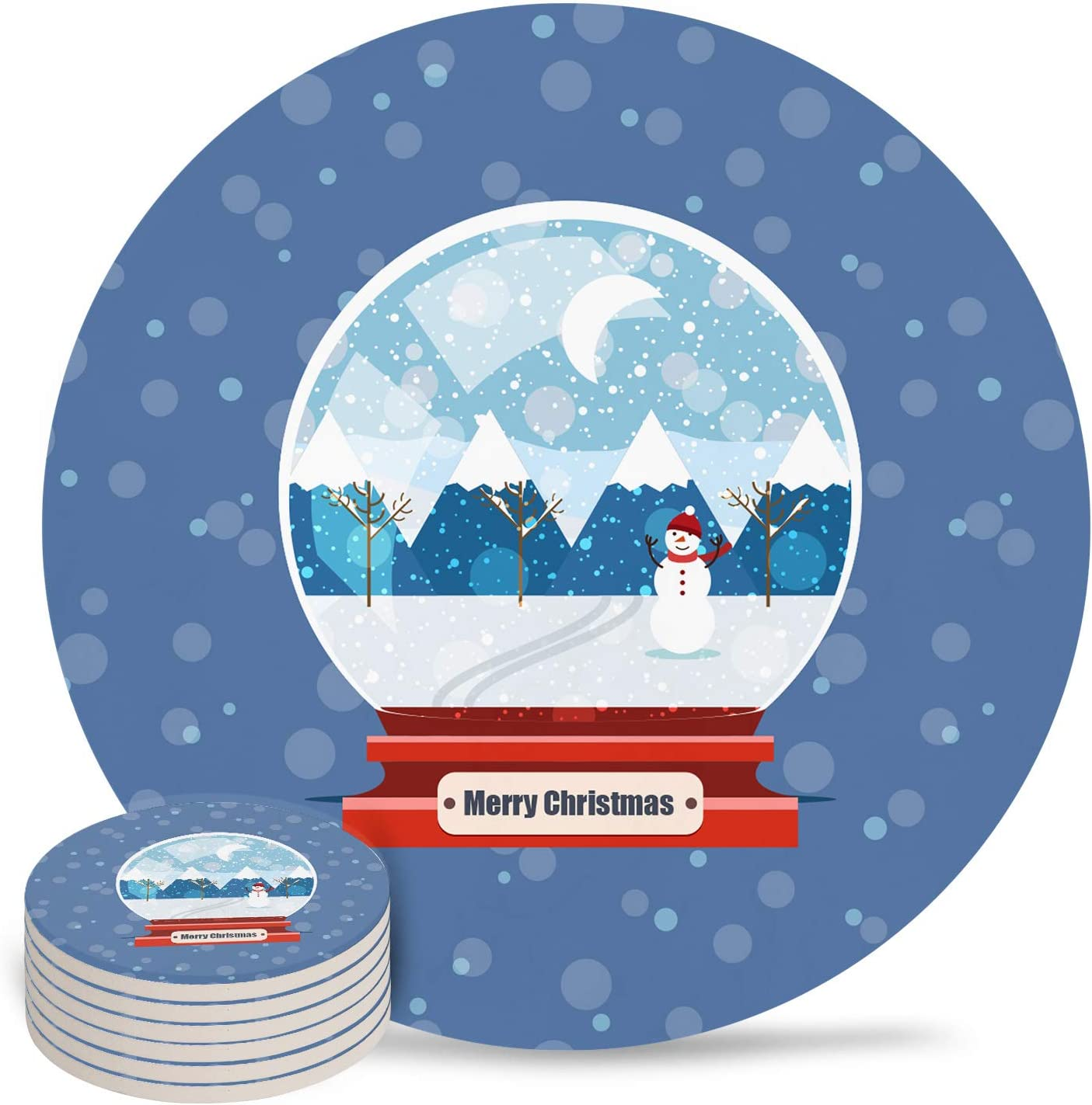 Coasters for Drinks Set of 6- Merry Christmas Crystal Ball Absorbent Ceramic Coaster with Cork Back for Bar Office Coffee, Housewarming Gifts