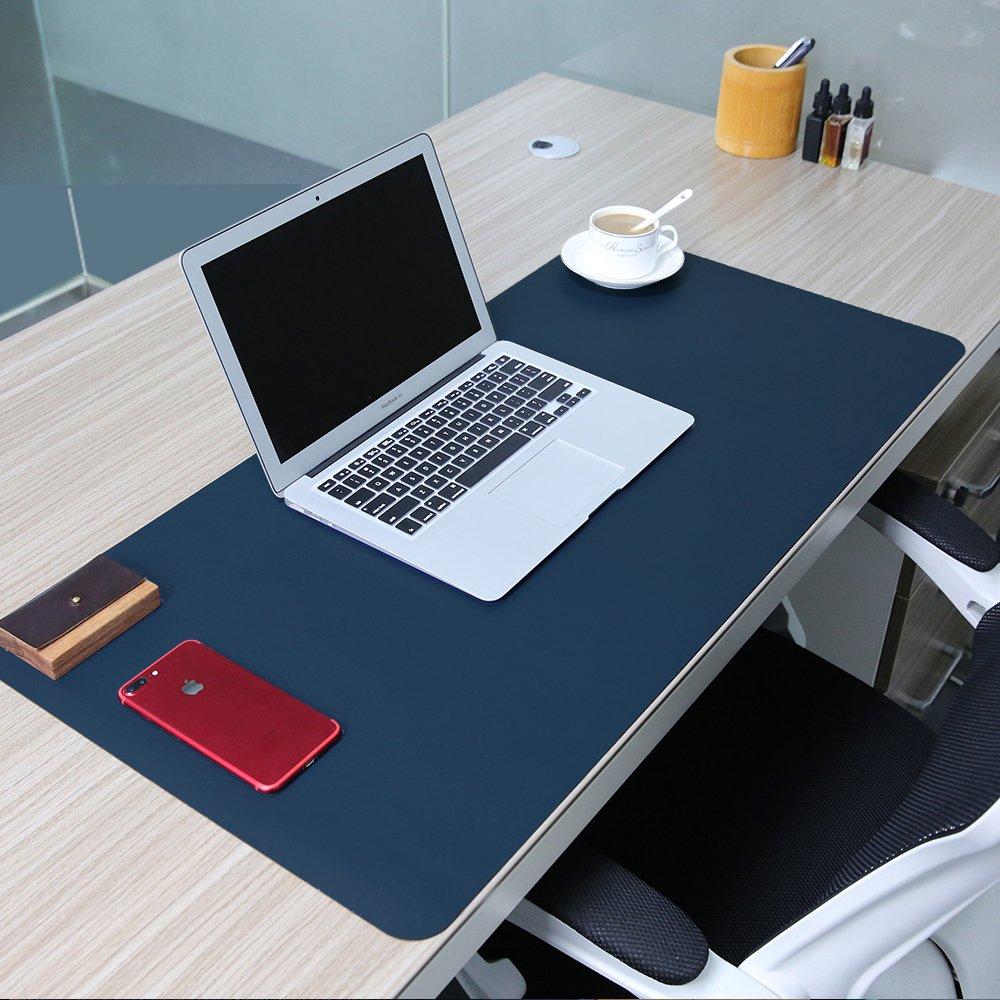 ele ELEOPTION - Tappetino per il mouse, in pelle PU, antiscivolo, resistente, impermeabile, per ufficio e scuola 90cm*45cm nero+rosso