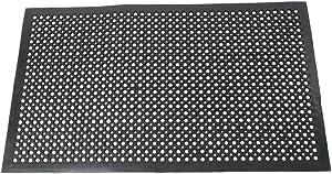 Lovinland Outdoor Mat Rubber Floor Mat Drainage Mat 60 x 35 Inch Non- Slip MatCommercial Heavy Duty Mat for Kitchen Garage Resturant Garden Indoor Outdoor Mat Black