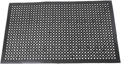 Lovinland Outdoor Mat Rubber Floor Mat Drainage Mat 60 x 35 Inch Set of 4 Non- Slip MatCommercial Heavy Duty Mat for Kitchen Garage Resturant Garden Indoor Outdoor Mat Black