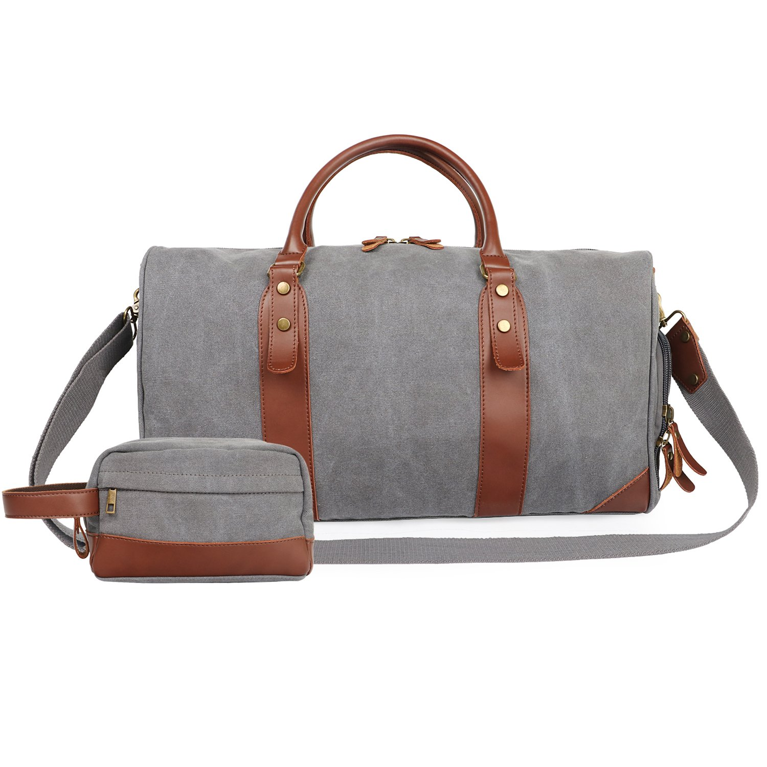 Oflamn 21'' Large Duffle Bag Canvas Leather Weekender Overnight Travel Carry On Bag - Free Toiletries Bag (Grey)