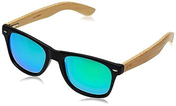 OCEAN SUNGLASSES Beach Lunettes de soleil Bamboo Dark Frame/Wood Dark Arms/Revo Blue Lens FPUZHQwa