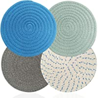 AIFUDA 4 Pcs Cotton Thread Weave Hot Pot Holders, Multi-use Hot Mats Non-Slip Stylish Coasters Insulation Hot Pads…