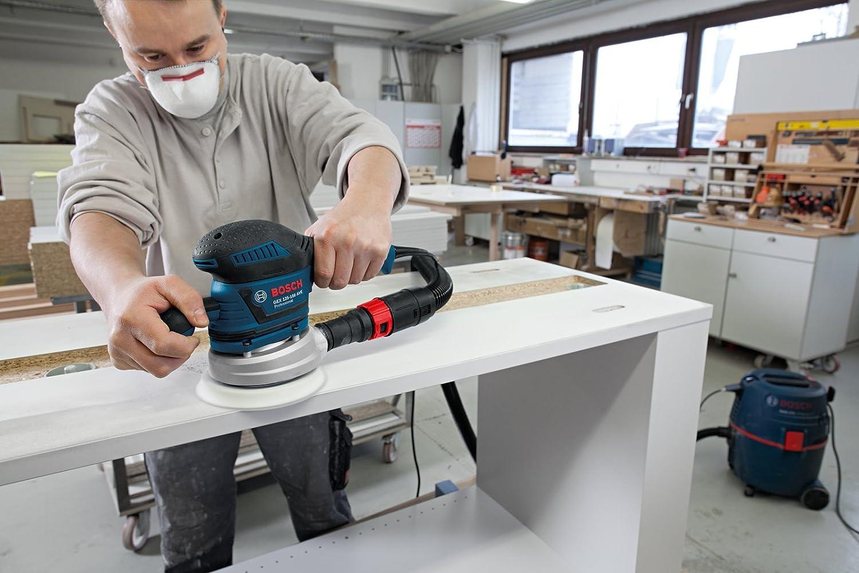 Bosch Professional GEX 125-150 AVE Exzenterschleifer 400 W Karton 2 Schleifteller 2x Schleifpapier 125mm, 150mm