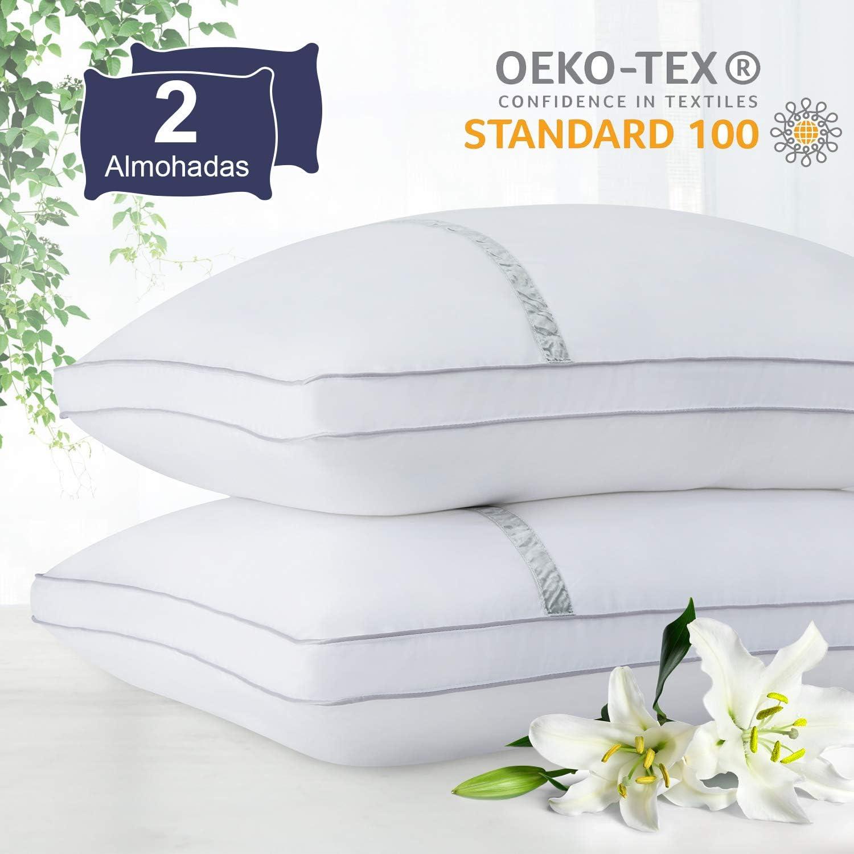 BedStory Almohada Antiácaros 42 x 70 cm Pack 2 Almohadas de Hotel Almohada con Relleno de Microfibra y Tejido Antialérgico para Dormir de Lado y Boca Arriba