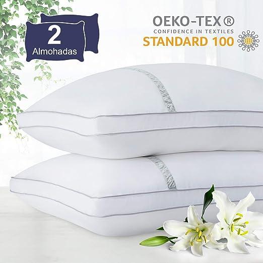 BedStory Almohada Antiácaros 42 x 70 cm Pack 2 Almohadas de Hotel ...