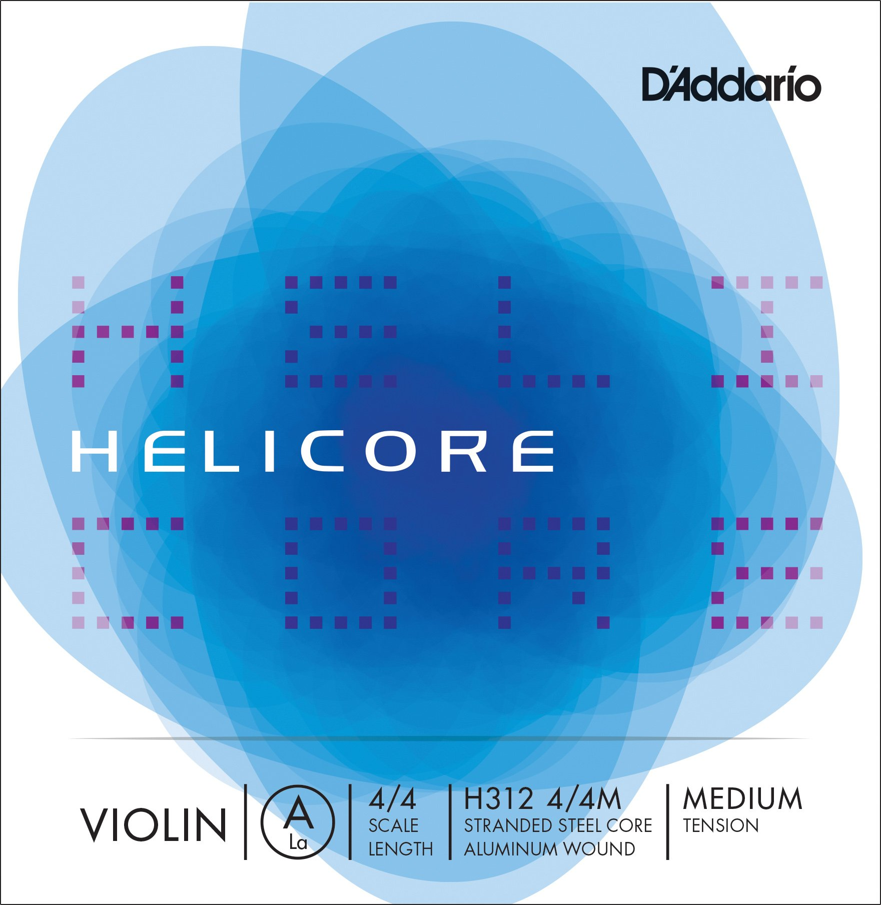 D'Addario Helicore Violin Single A String, 4/4 Scale, Medium Tension