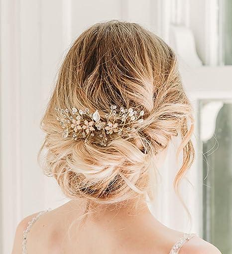 style roman collection entière date de sortie: SWEETV Perle accessoires cheveux mariage Cristal Peignes Cheveux Pinces à  Cheveux Diadème Bijoux en pièces de tête pour Mariage, Or rose