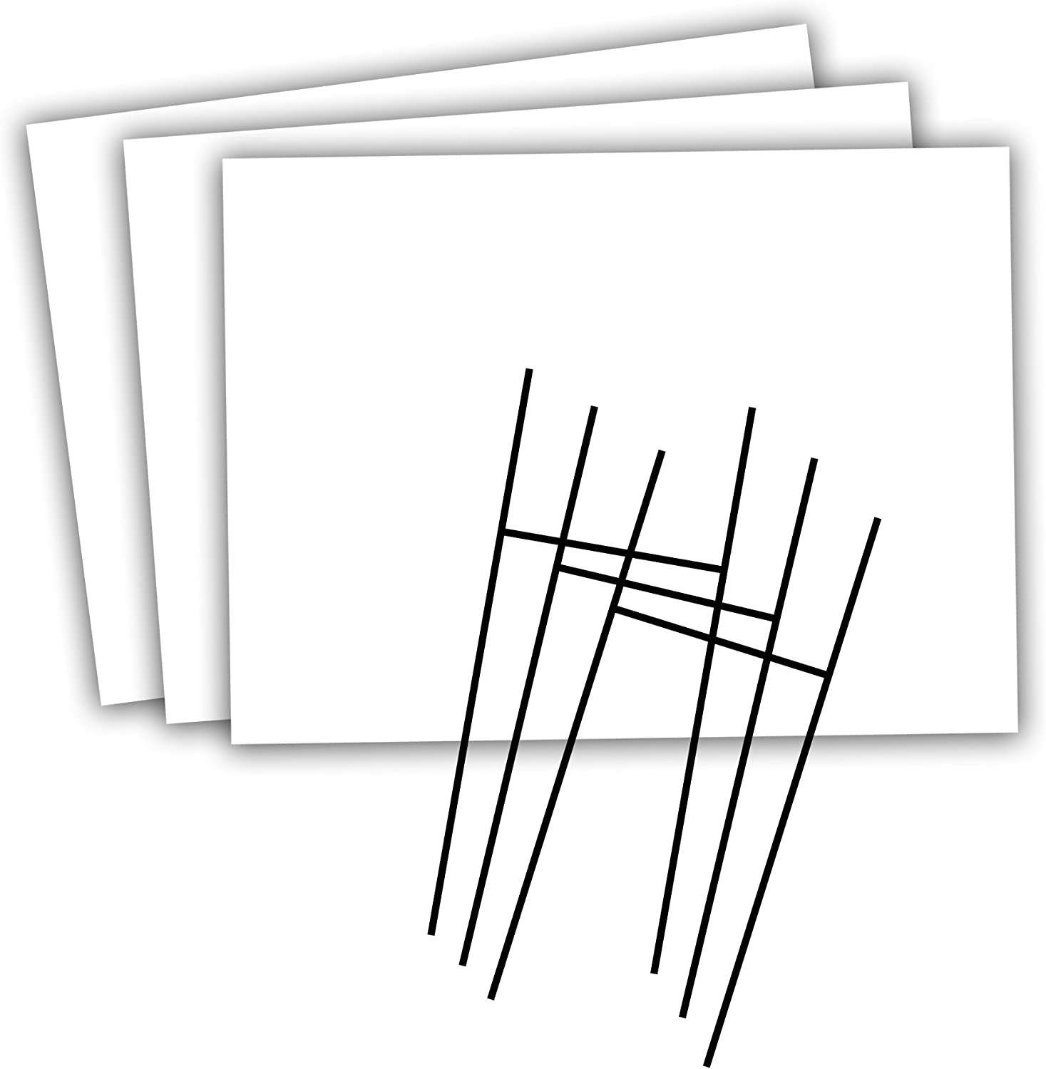 Headline Sign - Blank Yard Sign and H-Frame Ground Stake Sign Holder Set, White, 18 x 24 Inches, 3-Pack (5500)
