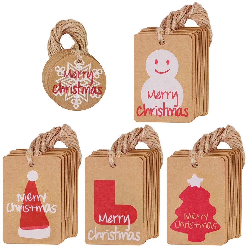 kraft Paper tag targhette regalo di Natale favor targhette segnaposto cartellini prezzi targhette con spago di iuta per Natale wedding party Holiday favor regalo Nyicey