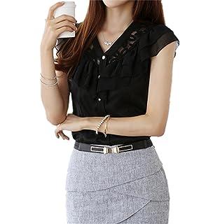 HUAKUISHOU Fashion Women Causal Summer Chiffon Lace Blouse Casual Lady Shirt