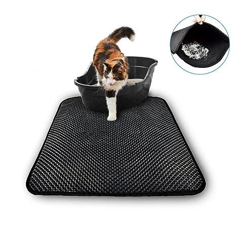 Alfombrilla de arena para gato BUTEFO, antideslizante, trampa para gatos, doble capa plegable, ...