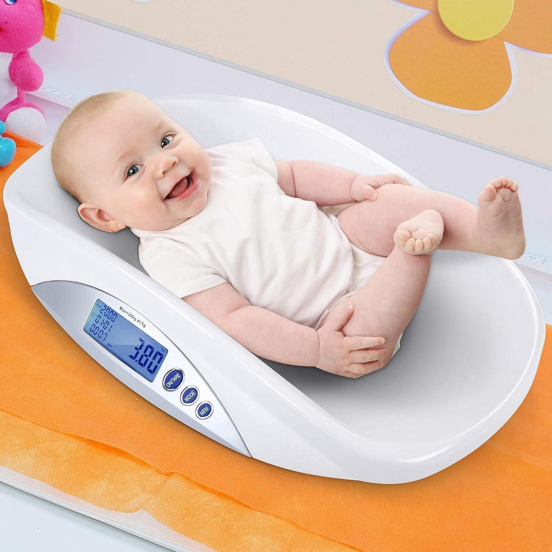 Elektronische Babywaage Bis 20 kg Kinderwaage Tierwaage Weiß mit LED Anzeige