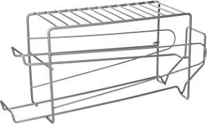 "Home Basics Vinyl Coated Steel Dispenser Stackable Front Loading Rack, Cans Organizer Holder for Fridge, Kitchen Pantry, Refrigerator, 5.75"" x 8.325"" x 17.3"", Silver"