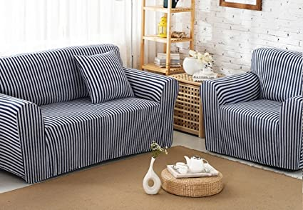 Amazing Home Chezmax Striped Pattern Soft Cotton Fabric Sofa Cover 1 Ncnpc Chair Design For Home Ncnpcorg