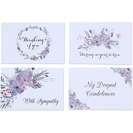 24 sympathy cards fancy boxed set of assorted greeting cards with 24 white envelopes - Deepest Sympathy Card