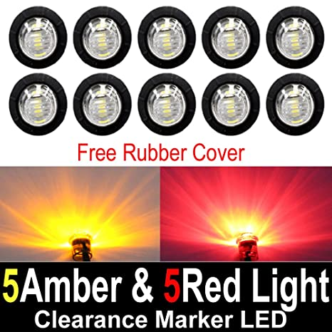 img buy 10 Pcs TMH 3/4 Inch Surface Mount Clear Lens 5 Amber & 5 Red LED Clearance Markers Bullet Marker lights, side marker lights, led marker lights, led trailer marker lights