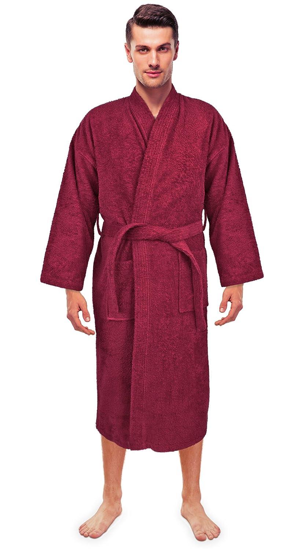 Turkuoise Mens Terry Cloth Robe Turkish Cotton Terry Kimono Collar
