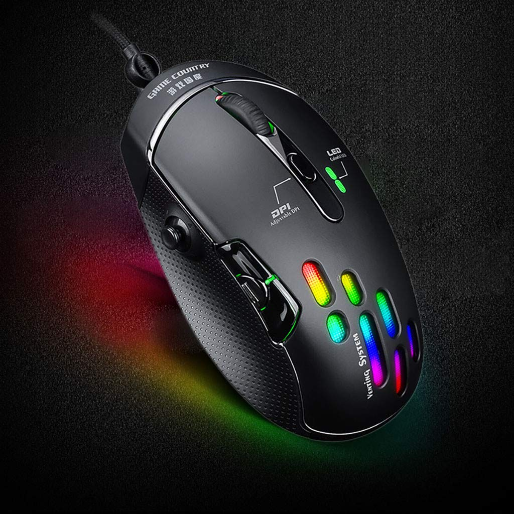 Pomdecy Wired Gaming Mouse// 5D 4000DPI//USB Computer Mice Gamer//7 Button Mouse//Optical Sensor//Matte Black//Breathing Light