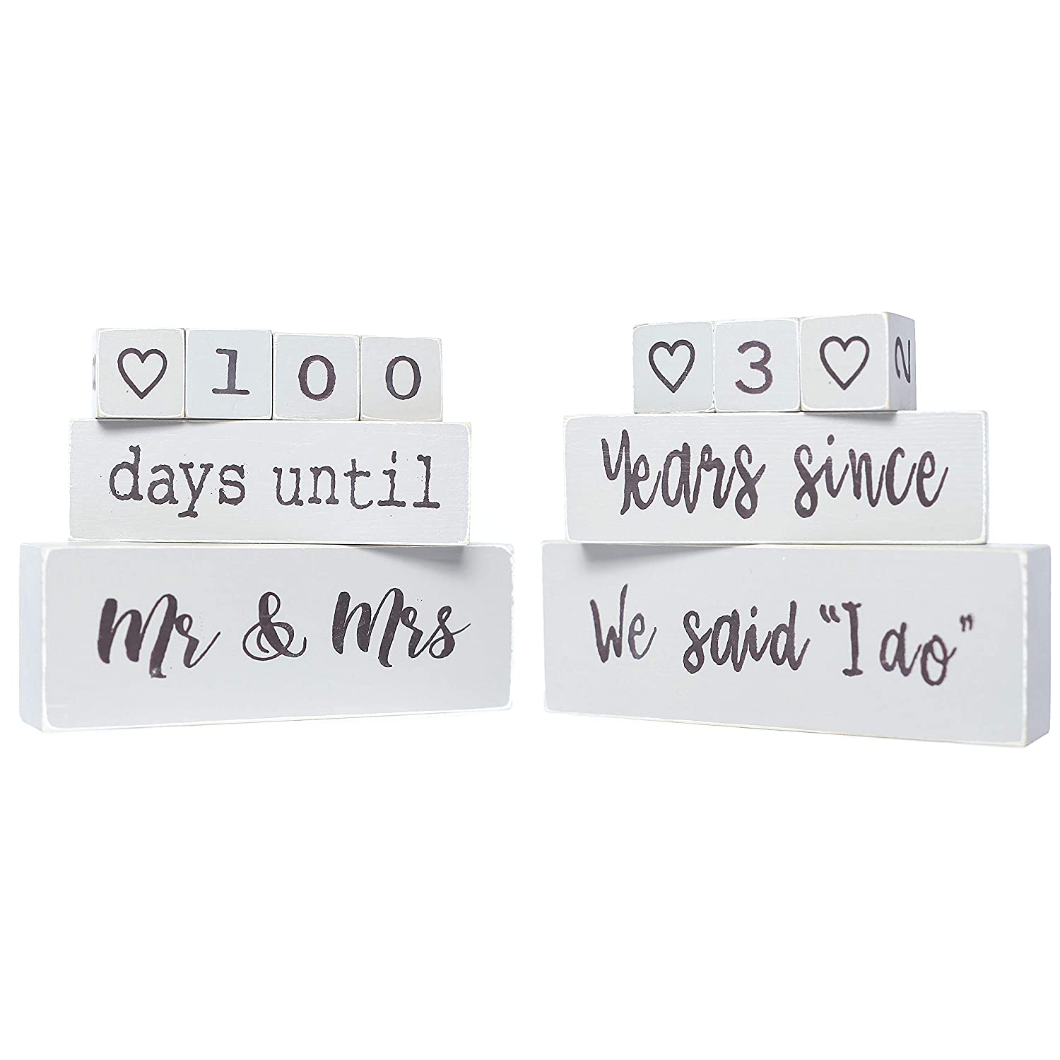 Bride To Be The Original Reversible Wedding & Anniversary Countdown Table  Block (6 Piece) - Unique & Funny Engagement Gift for a Bride, Fiancé or