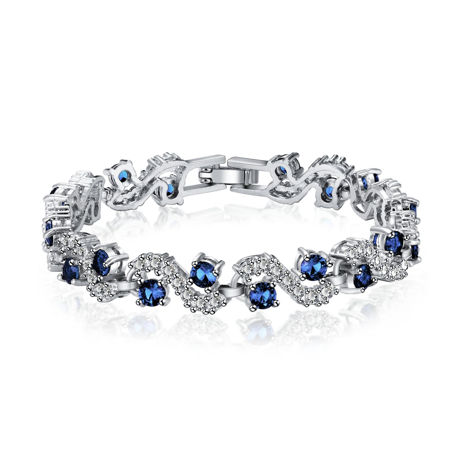 Feraco Blue Tennis Bracelet Women Cubic Zirconia Sapphire Jewelry Bridal Crystal Bangle Mom Daughter,7.48 inch
