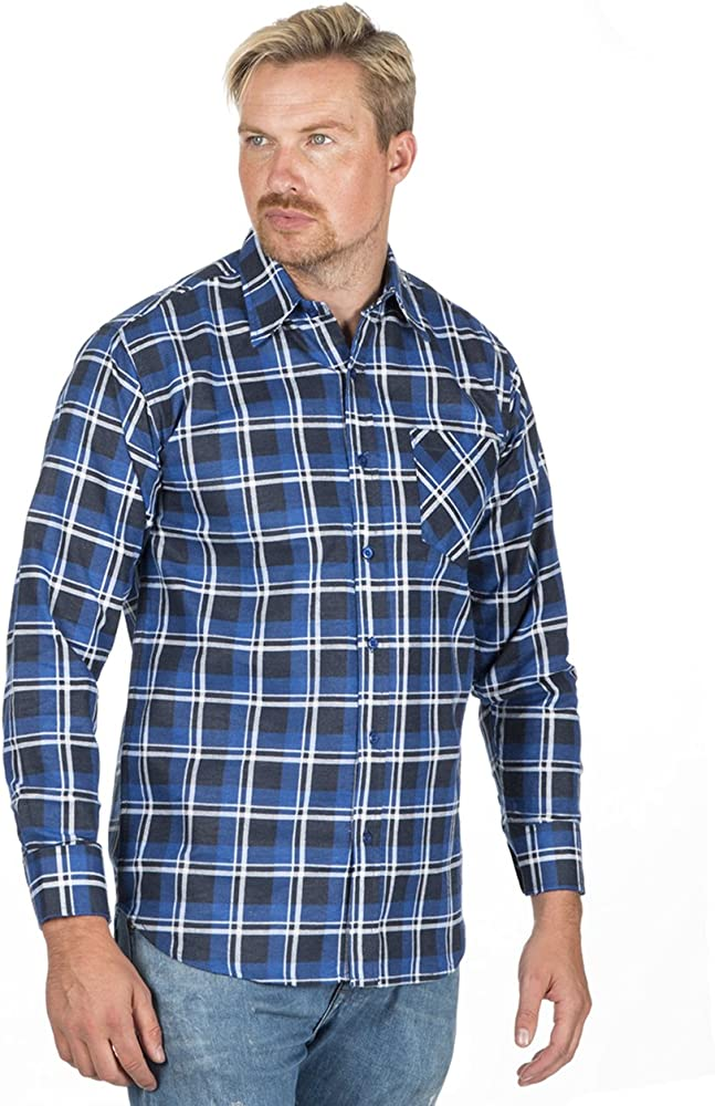 Camisa de franela para hombre, cepillada, cálida, para trabajo, informal, para leñador, manga larga, extra cálida Azul azul marino S: Amazon.es: Ropa y accesorios