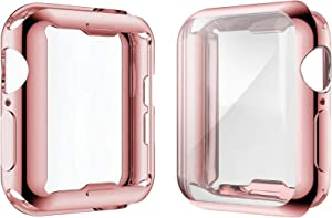 [2-Pack] Julk Case for Apple Watch Series 6 / SE/Series 5 / Series 4 Screen Protector 40mm, Overall Protective Case TPU HD Ultra-Thin Cover (1 Rose Pink+1 Transparent)
