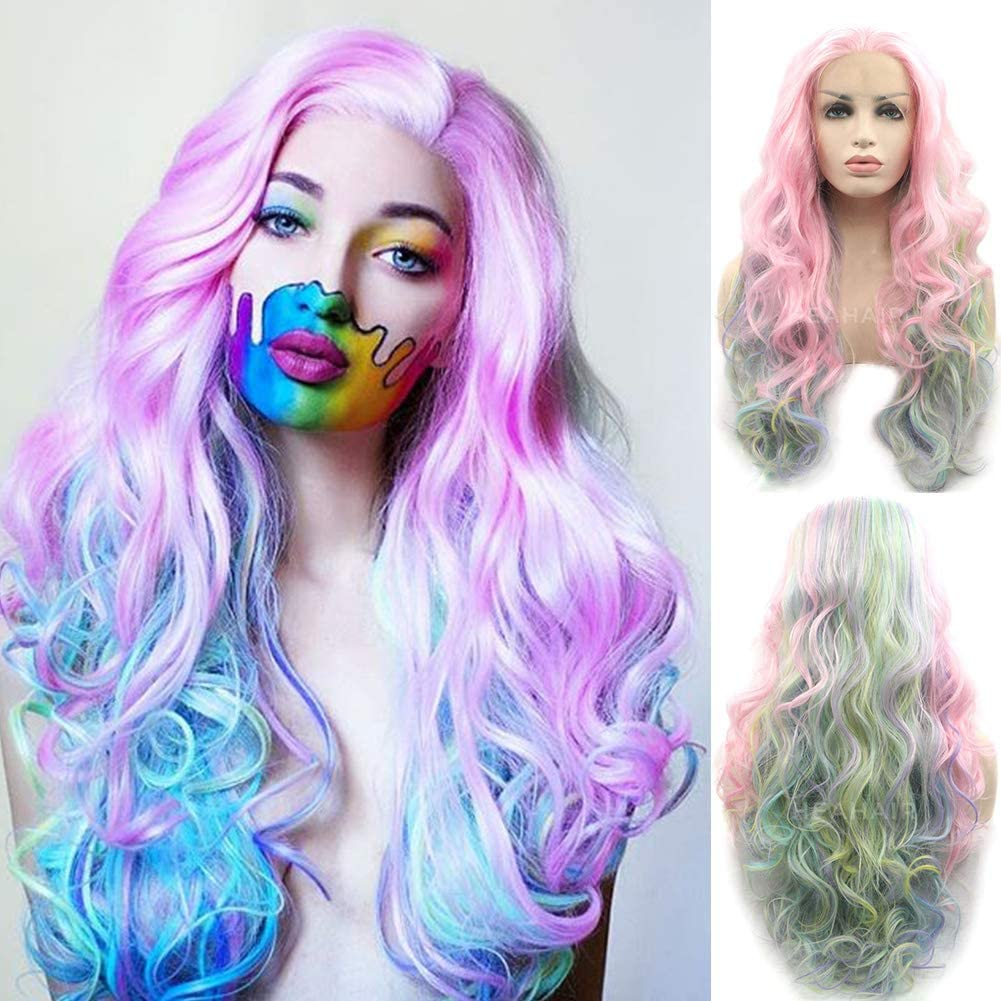 heahair® rosa Handtied arco iris Fahsion peluca Lace Front sintético para las mujeres