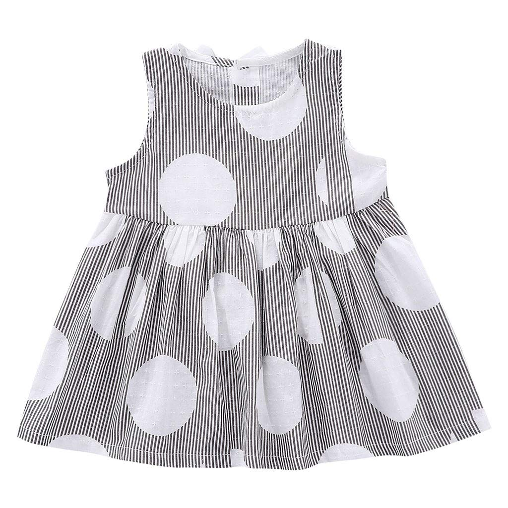 NUWFOR Toddler Kid Baby Girl Sleeveless Striped Printed Party Princess Dress Clothes(Black,12-18 Months)