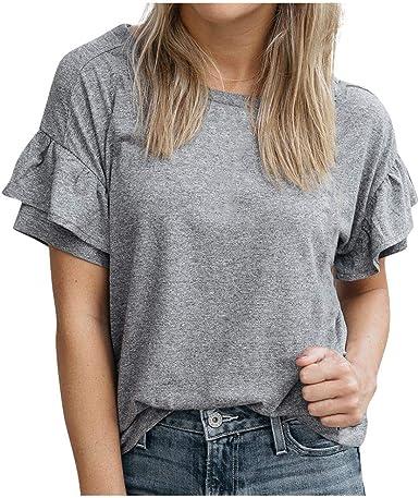 FELZ Moda Blusa de Manga Corta para Mujer Casual Cuello Redondo Manga de Volantes Camiseta Verano Camisas de algodón en Color Liso Original Fiesta de Tops Basica t-Shirt tee: Amazon.es: Ropa y