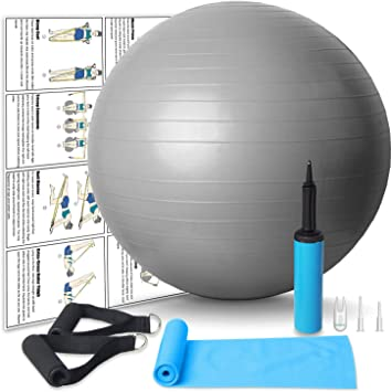 Amazon Com Body Resistance Bands Handles Non Rolling With Pilates Exercise Ball With Hand Pump For Yoga Pilates Birthing Balance Training Physical Therapy Non Latex Sports Outdoors