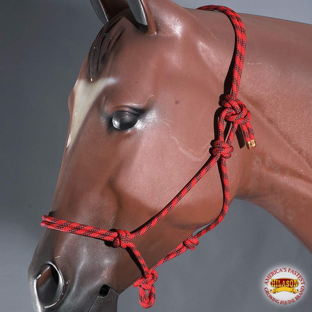 HILASON 馬用編み込みポリロープ ウェスタンタック レッド ブラック   B07NBGPFB9