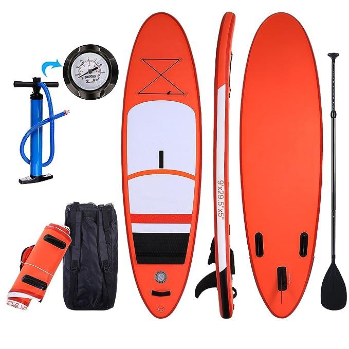 Profun Tabla Hinchable Tabla de Surf SUP Set Stand Up Paddle Surf Board de 275CM*75CM*13CM Doble Capa con Paddle Ajustable+Bomba de Aire+Paleta+Mochila ...